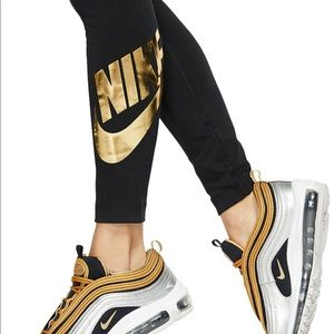 Nike Black Metallic Logo Leggings. NEW XL